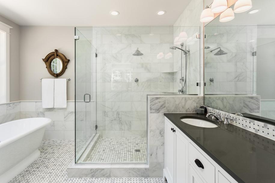 6 budget friendly tile tricks that look high end look for Bathroom decor edmonton