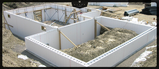 Icf custom home construction benifits alair homes for Icf basement construction